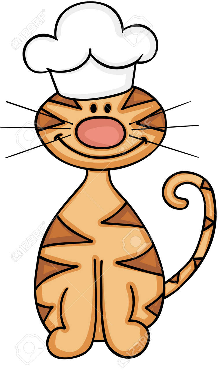 hight resolution of cute cat wearing chef hat stock vector 87774298