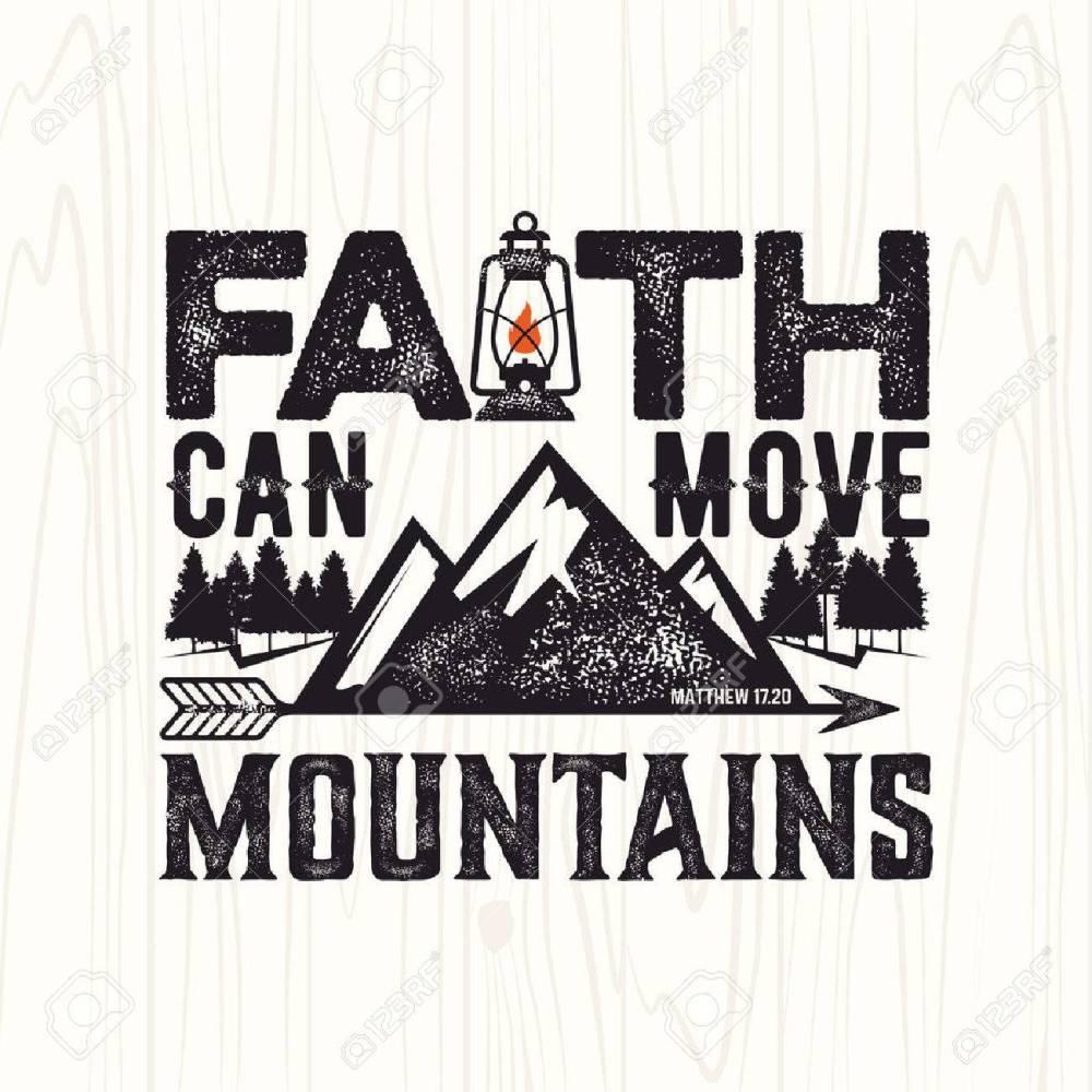 medium resolution of biblical illustration christian lettering faith can move mountains matthew 17 20 stock
