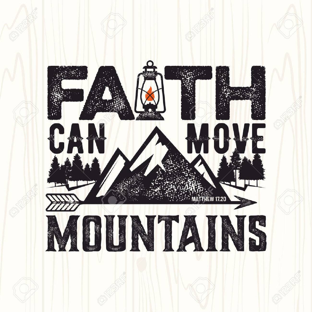 hight resolution of biblical illustration christian lettering faith can move mountains matthew 17 20 stock