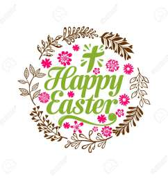 happy easter lettering and graphic elements cross of jesus christ stock vector  [ 1300 x 1300 Pixel ]