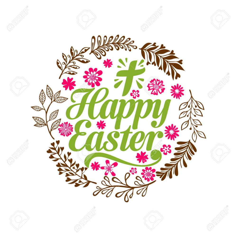medium resolution of happy easter lettering and graphic elements cross of jesus christ stock vector