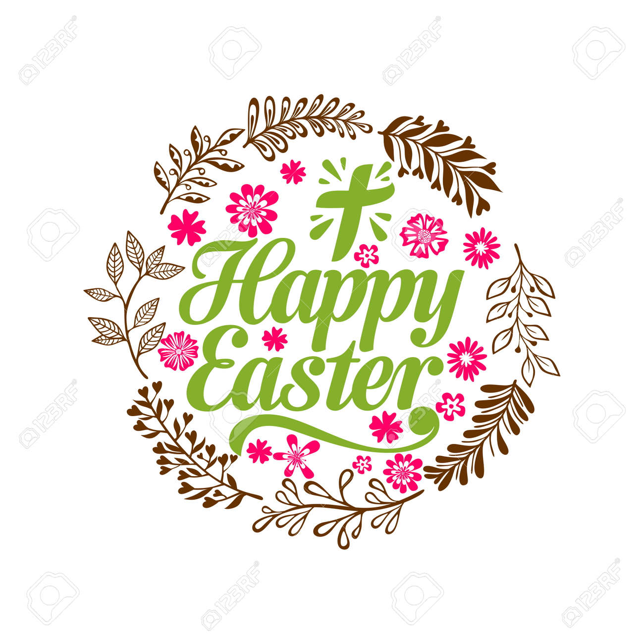 hight resolution of happy easter lettering and graphic elements cross of jesus christ stock vector