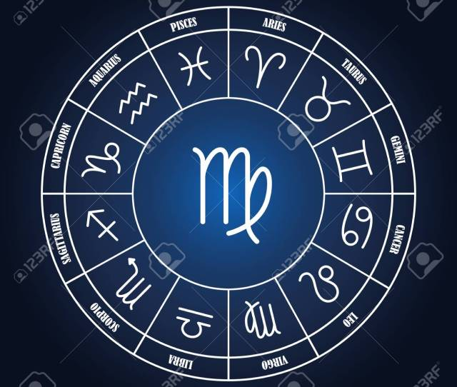Vector Virgo Astrology Sing In Zodiac Circle On The Dark Blue Background Set Of Astrology Sings