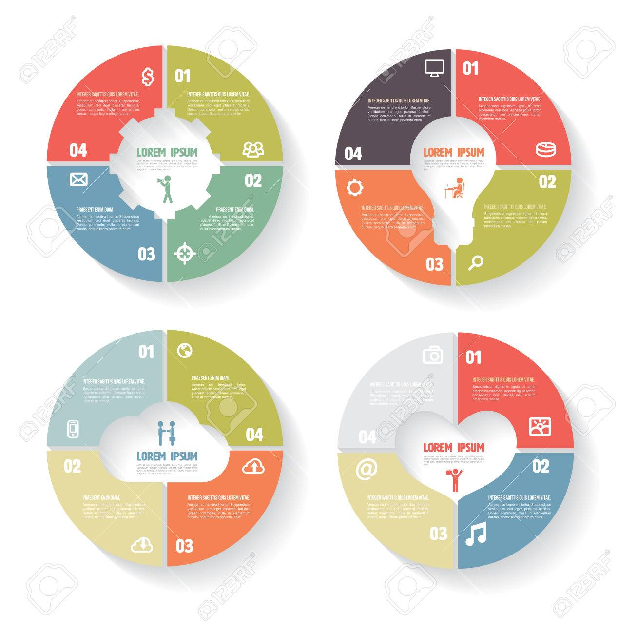 hight resolution of vector circle infographic set gear bulb cloud heart template for diagram
