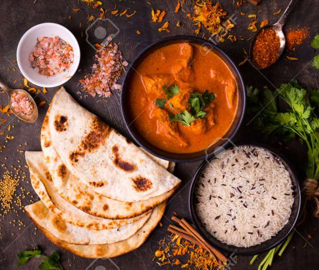 Hot Spicy Chicken Tikka Masala In Bowl Chicken Curry With Rice Indian Naan Butter