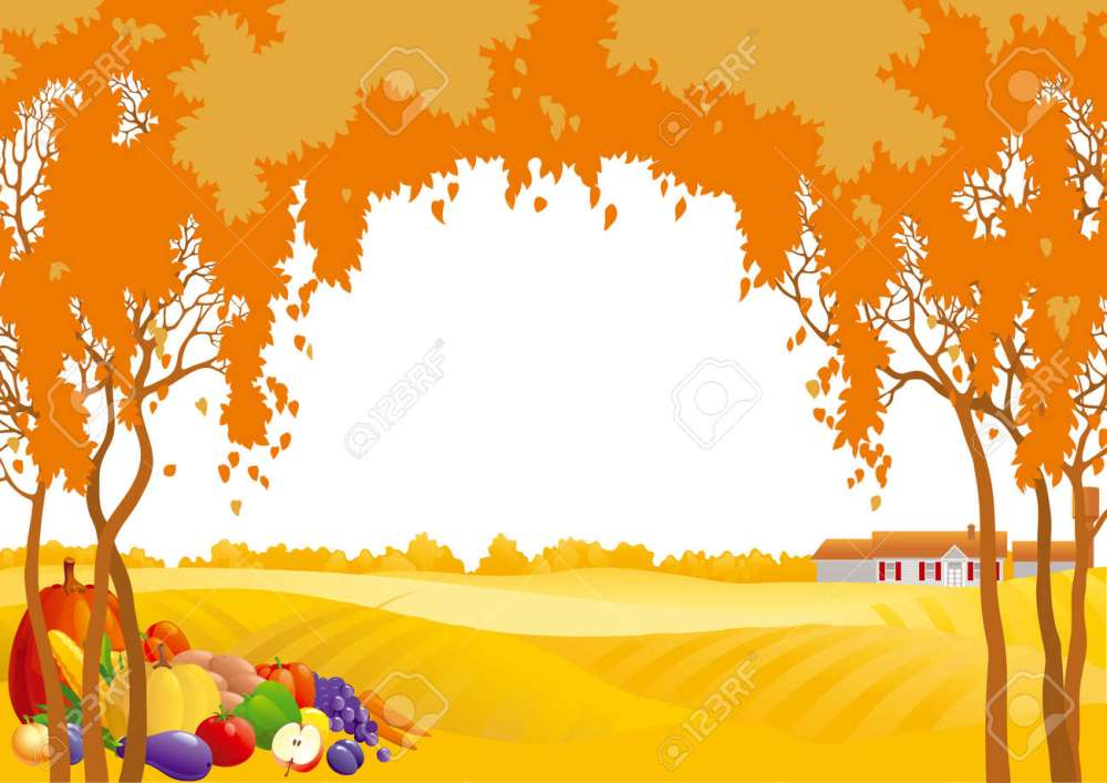 medium resolution of thanksgiving background many fruits and vegetables on autumn landscape with yellow meadows and frame of