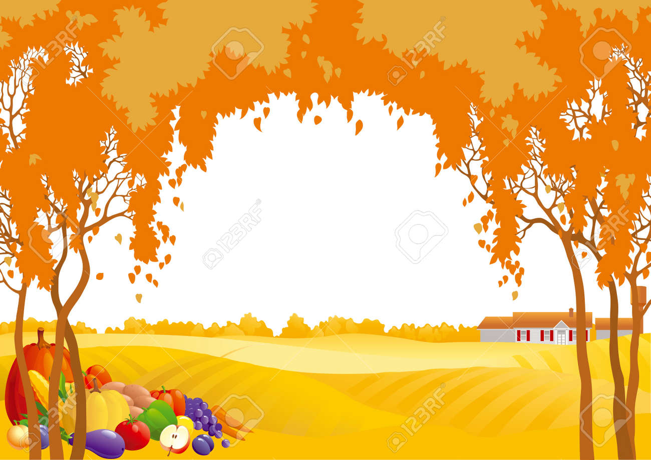 hight resolution of thanksgiving background many fruits and vegetables on autumn landscape with yellow meadows and frame of