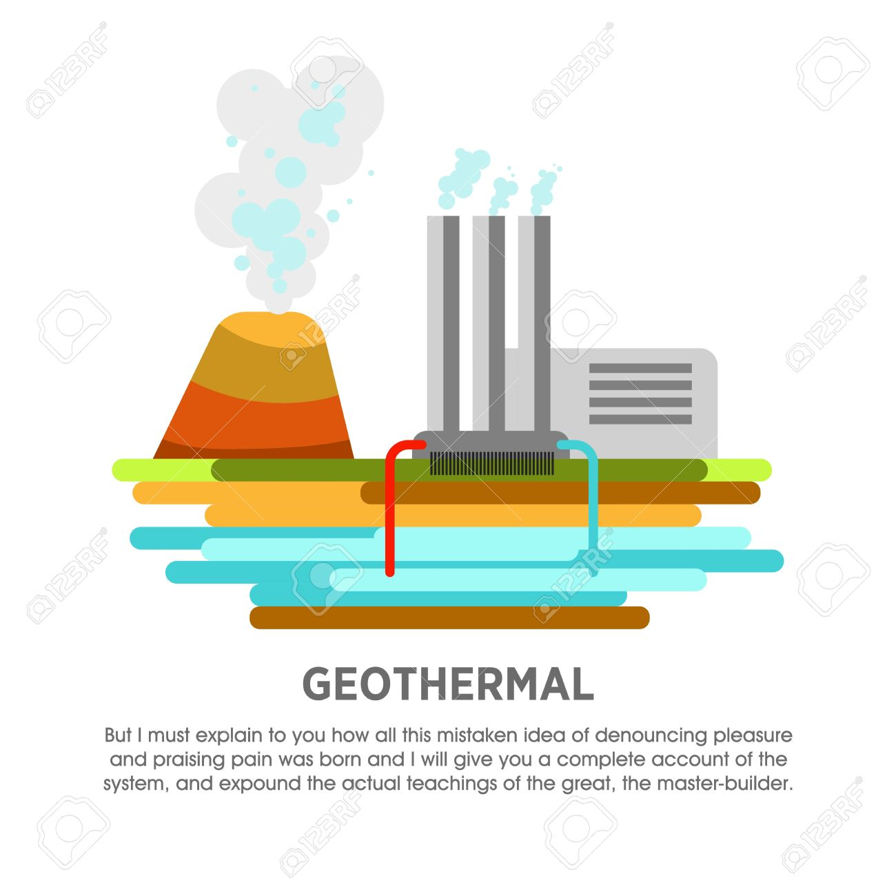 hight resolution of geothermal power station earth thermal heat energy vector flat illustration stock vector 71969688