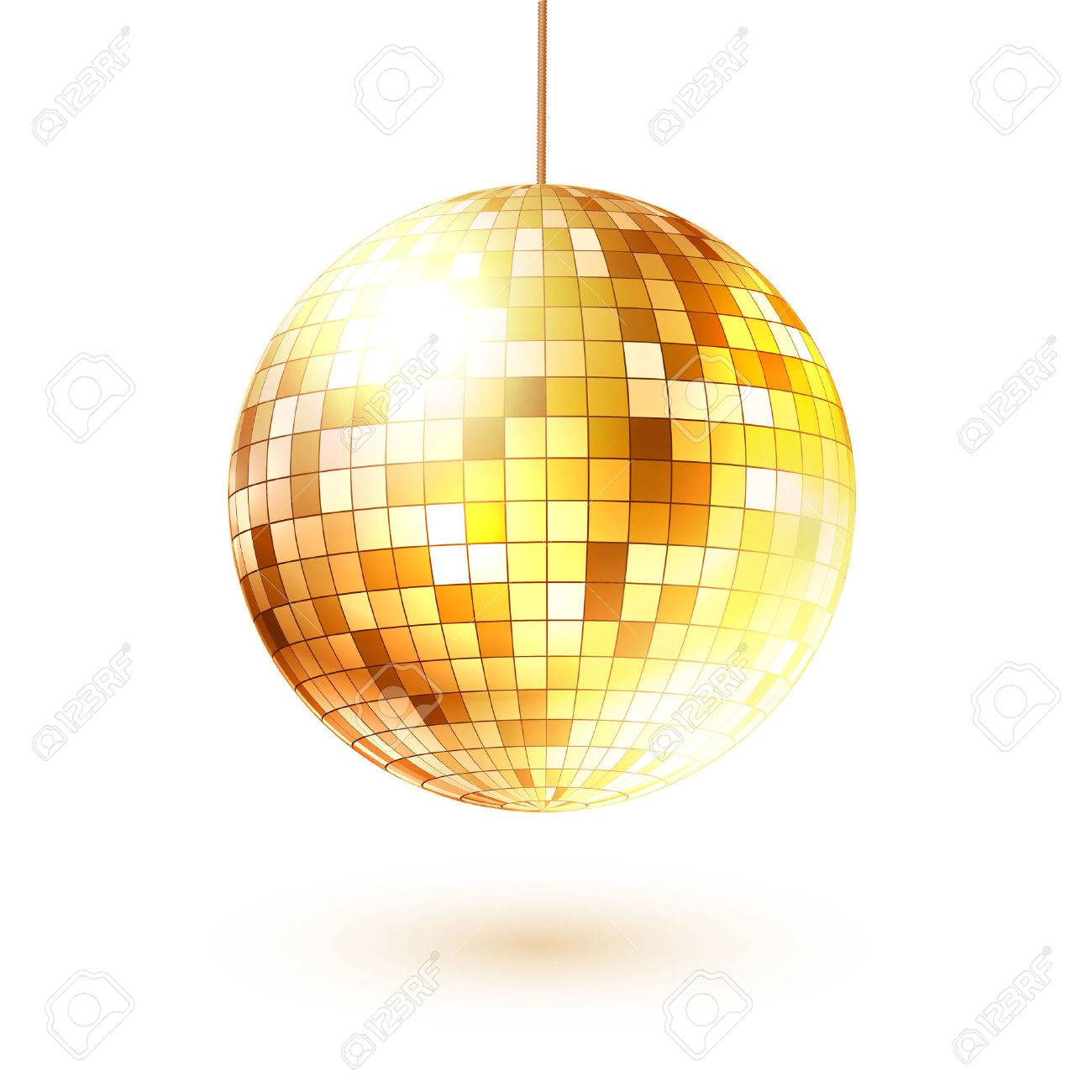hight resolution of vector vector illustration of golden disco ball