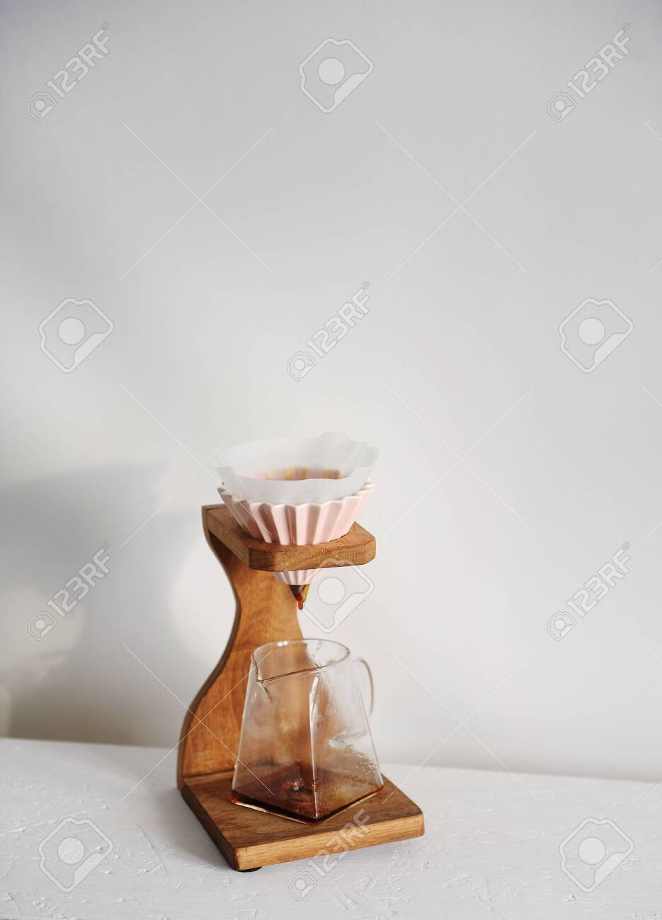 wooden coffee drip stand