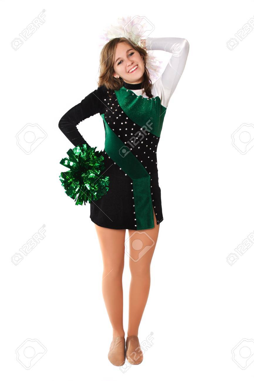 Beautiful Young Woman Poses In A Pom Pon Uniform Stock Photo 2917251
