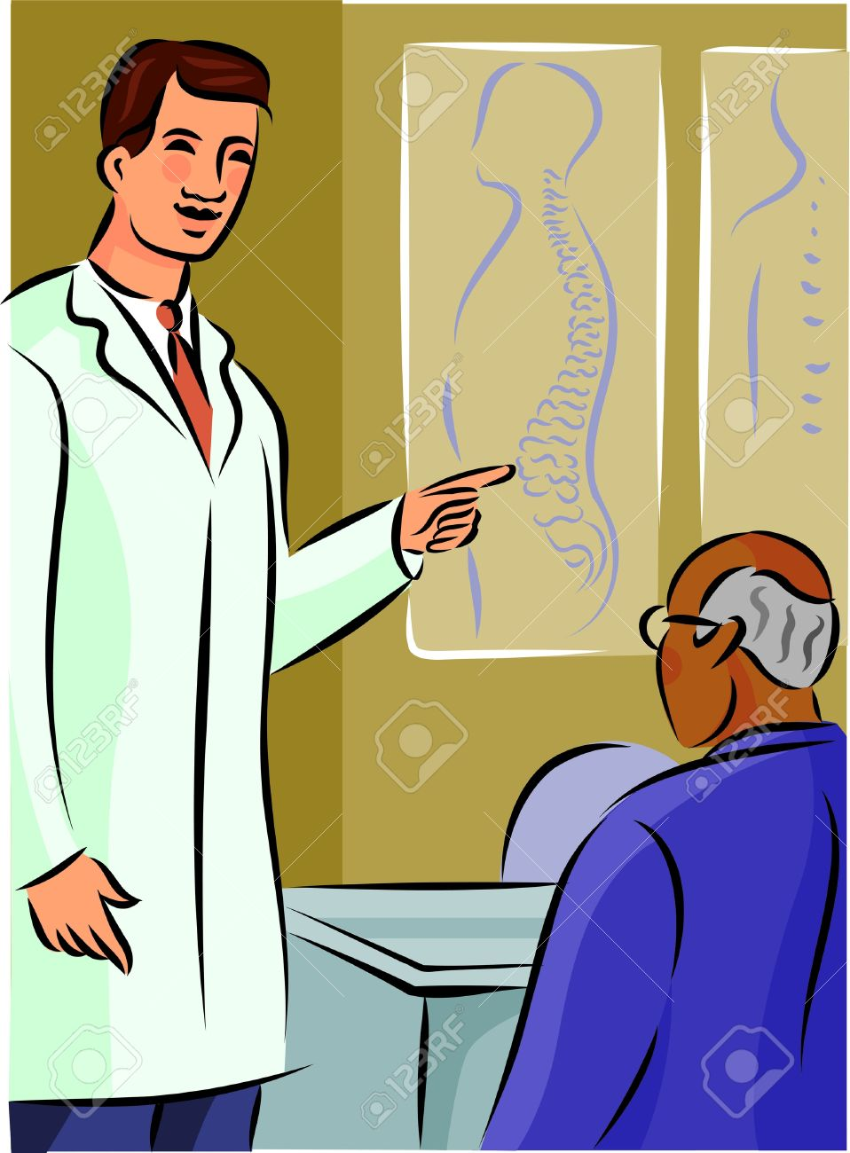 medium resolution of doctor showing his patient a diagram of the spine stock photo diagram of toon diagram of doctor