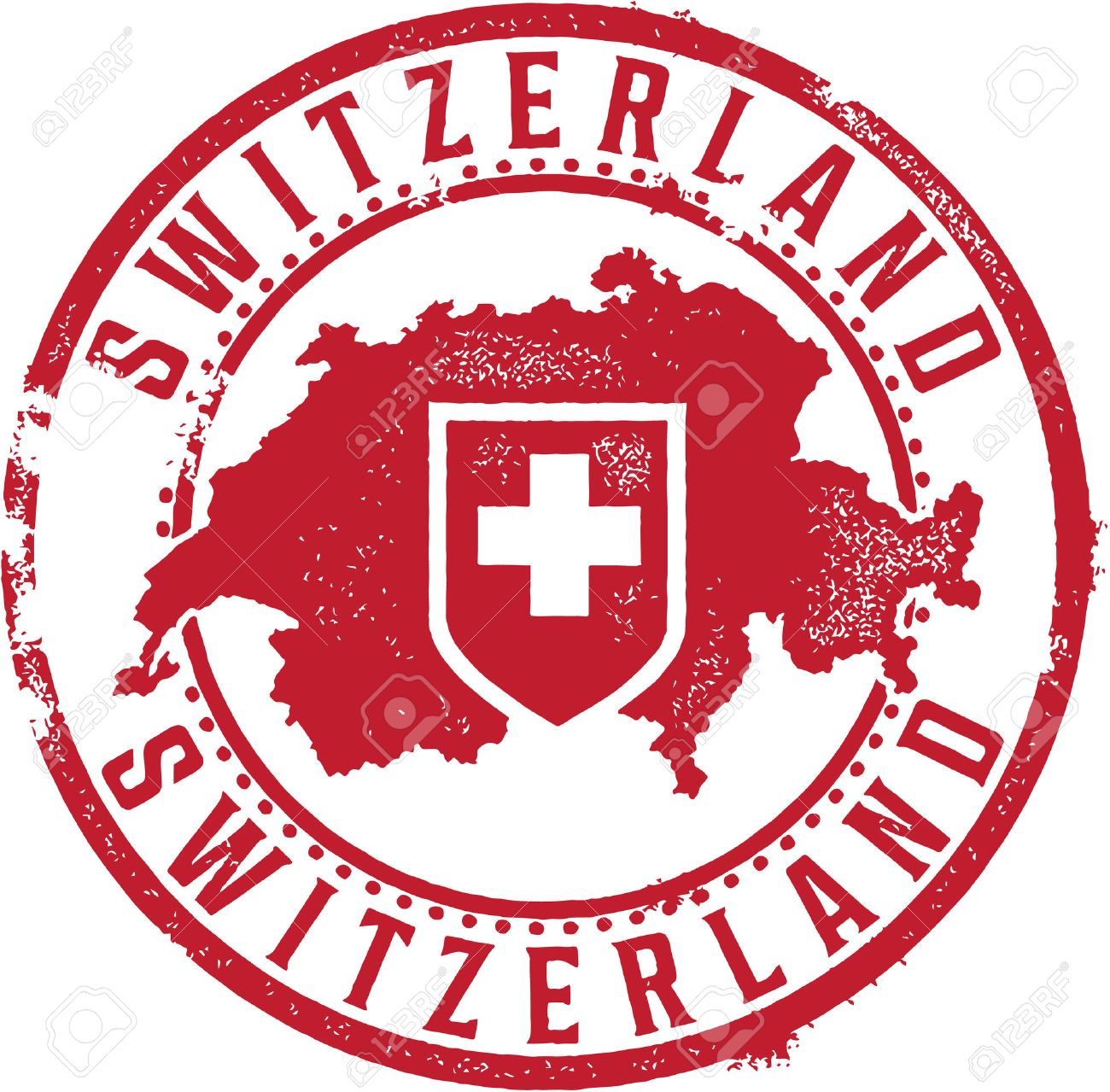 hight resolution of switzerland country stamp