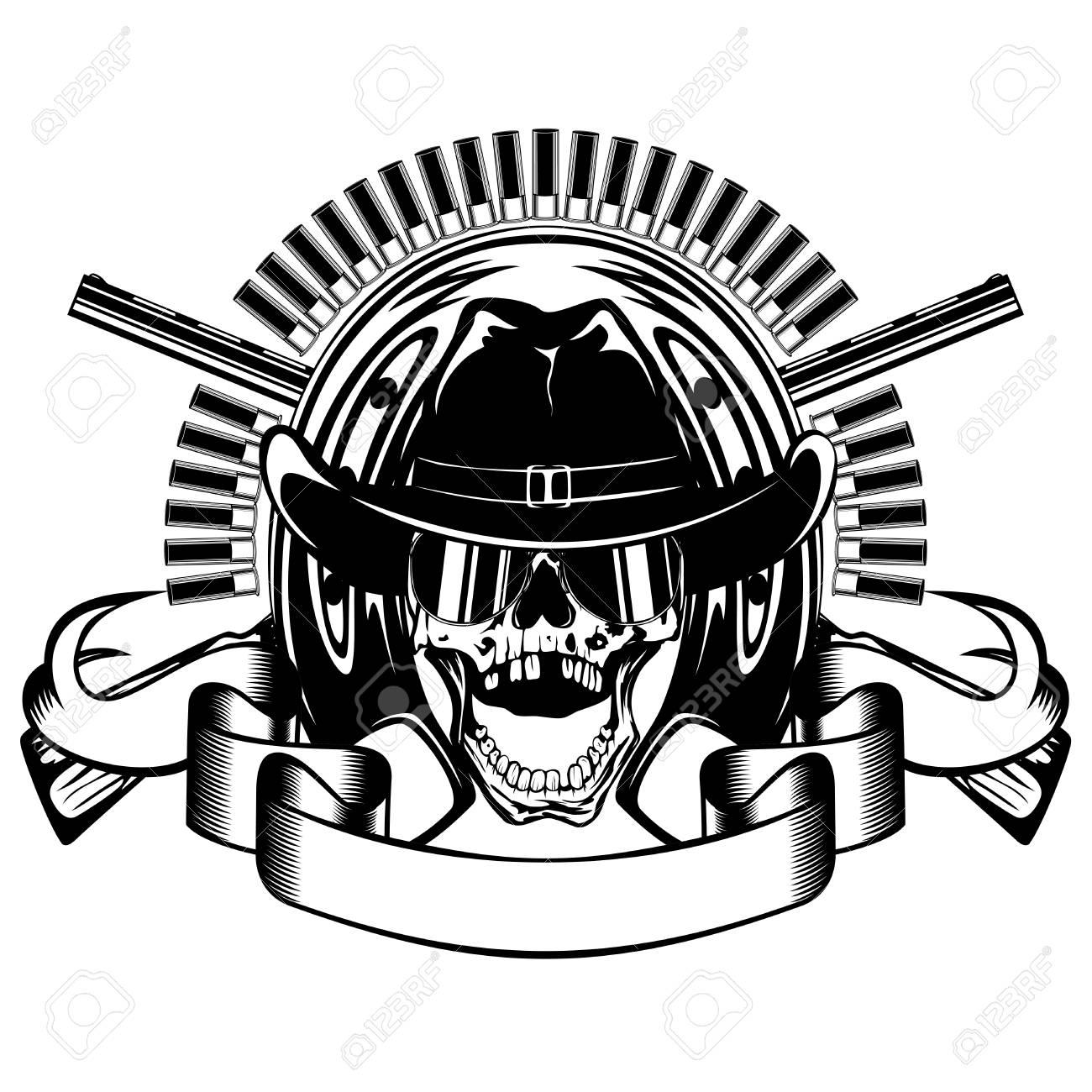 Ilustración De Vector Cráneo Con Gafas De Sol En El Sombrero De