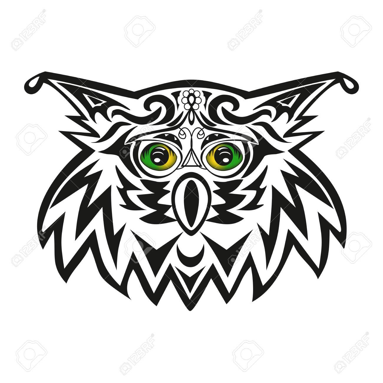 La Cabeza De Un Búho Tatuaje De Un Búho Real Vector Un Pájaro Un