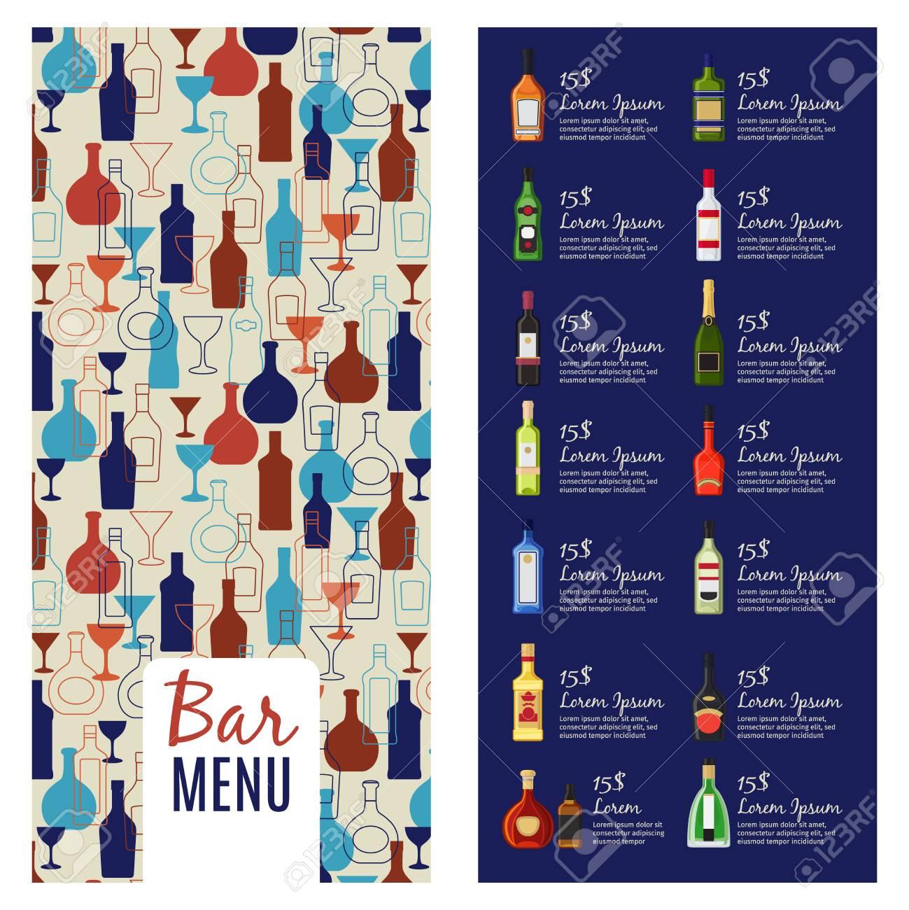 Bar Menu Template. Alcohol Menu Booklet Flyer Template With Bottles ...