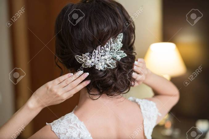 beautiful portrait of a cute brunette gorgeous bride's hairstyle,..