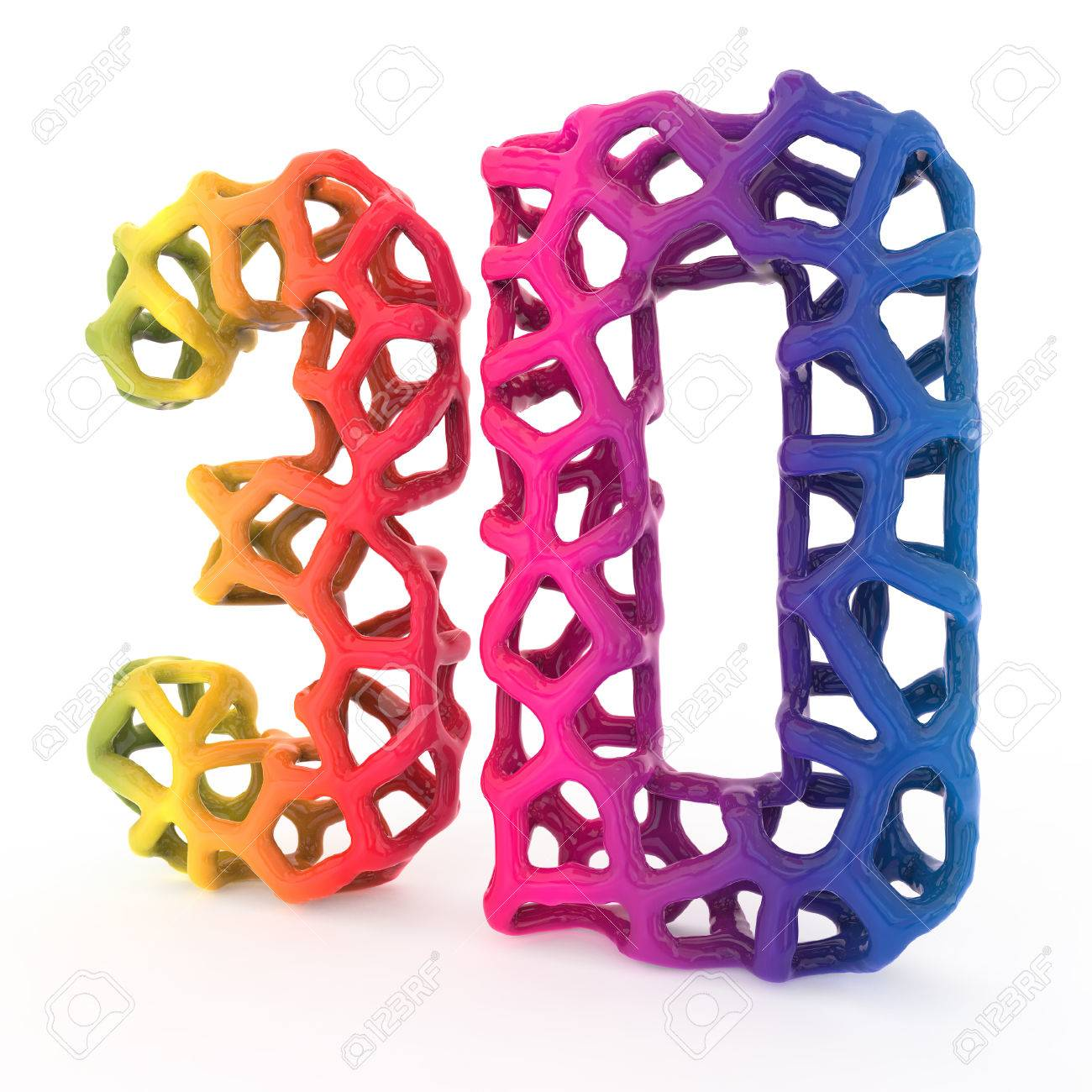 3d printing letters isolated