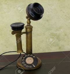 antique phone with control dial old rotary telephone stock photo 57044225 [ 1300 x 866 Pixel ]