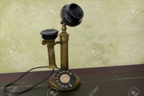 small resolution of antique phone with control dial old rotary telephone stock photo 57044225