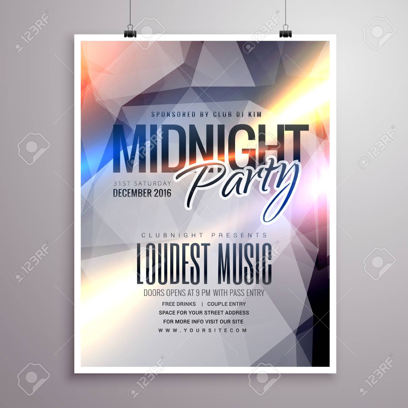 Midnight Music Party Flyer Brochure Template Stock Vector - 61039984
