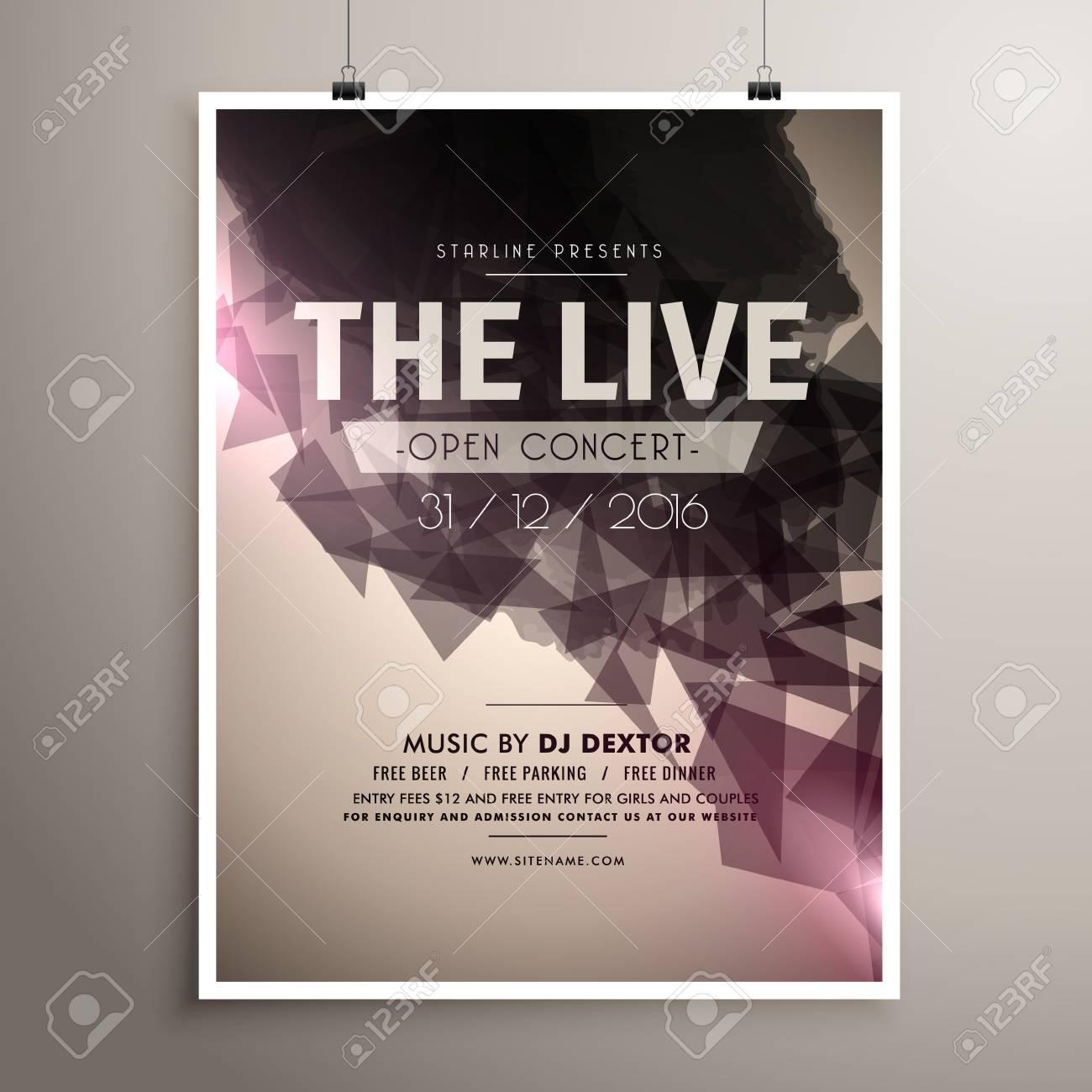 Elegrant Live Concert Music Flyer Brochure Template Stock Vector 66228980