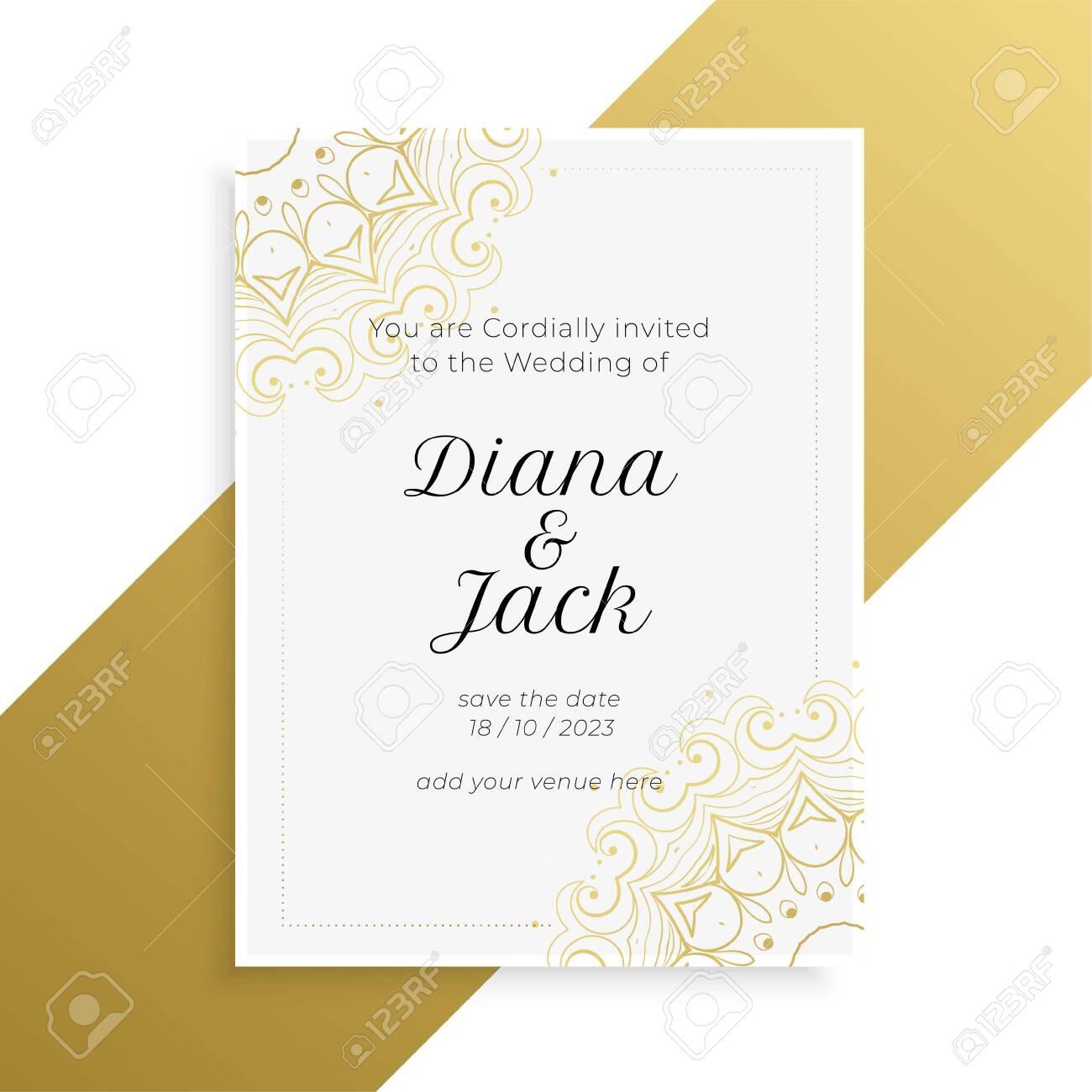 lovely golden and white wedding invitation card design