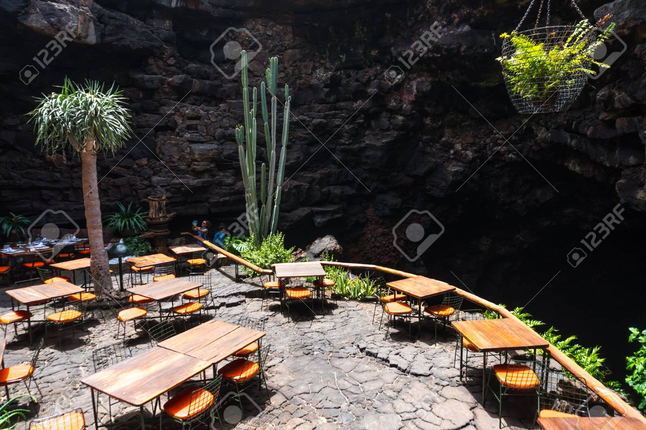 Lanzarote Spain August 6 2018 Restaurant Inside The Volcanic