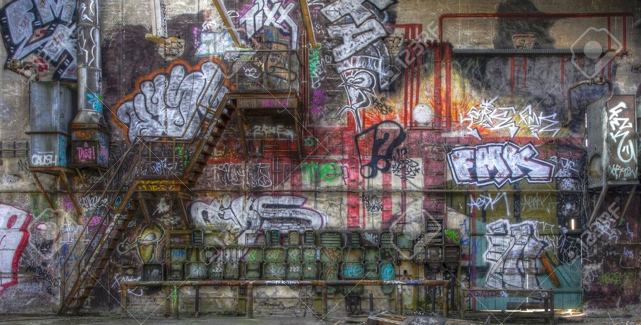 hight resolution of fuse box graffiti and a staircase on a wall stock photo 32029774