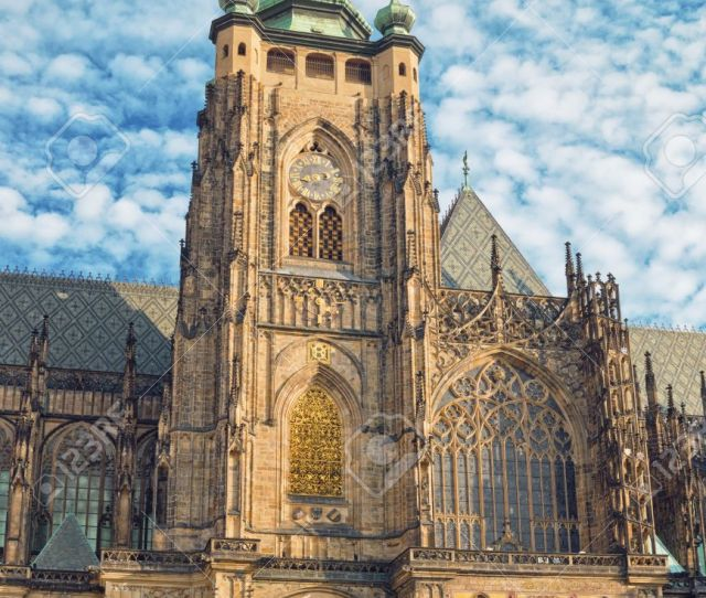 East Side Of Prague Saint Vitus Cathedral Is An Example Of Gothic Architecture Famous Tourist
