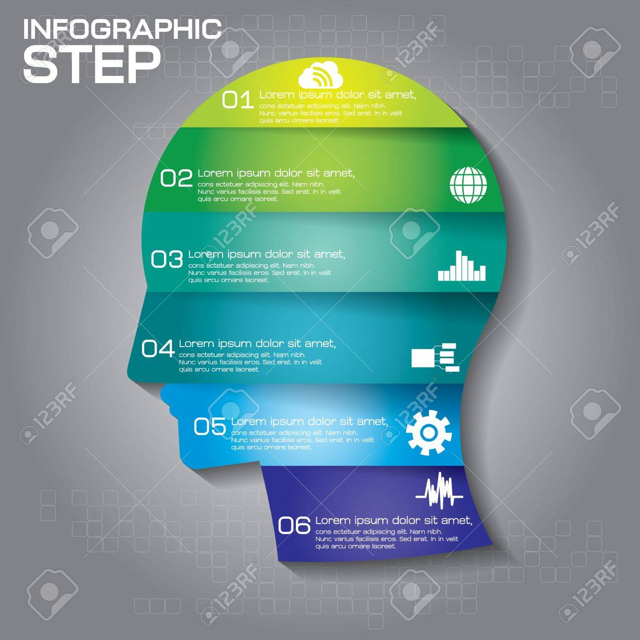 hight resolution of vector vector puzzle human face infographic cycle brainstorming diagram 6 options parts steps or processes