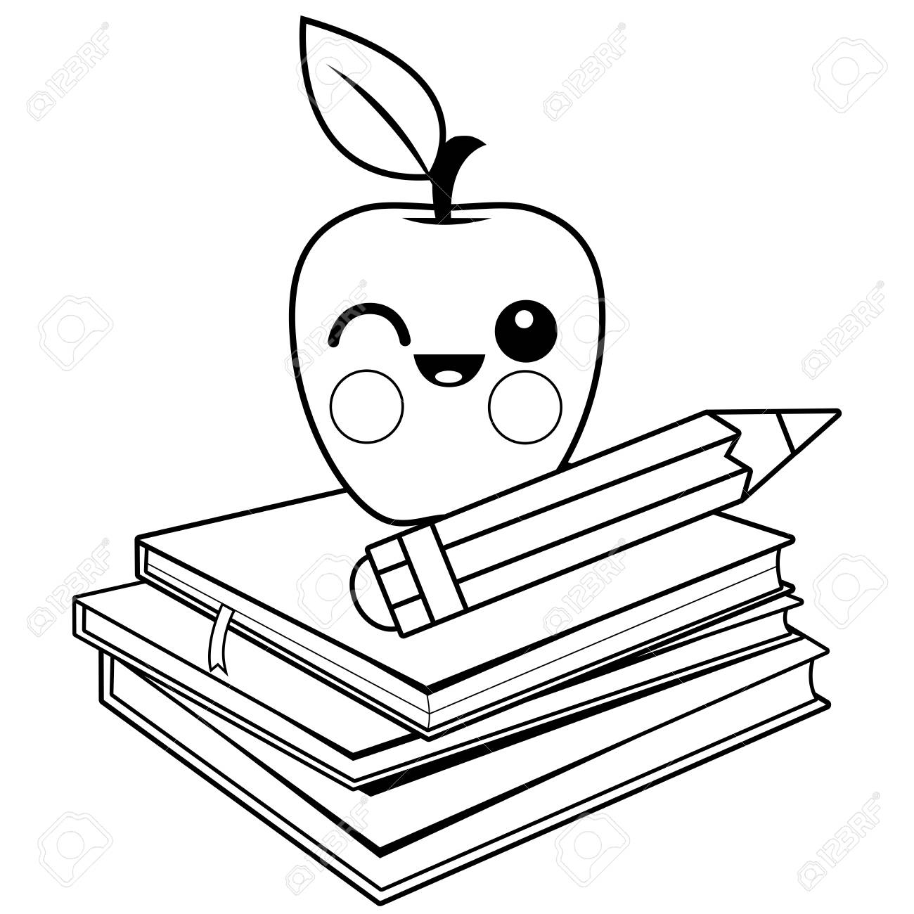 hight resolution of apple books and pencil black and white coloring book page stock vector