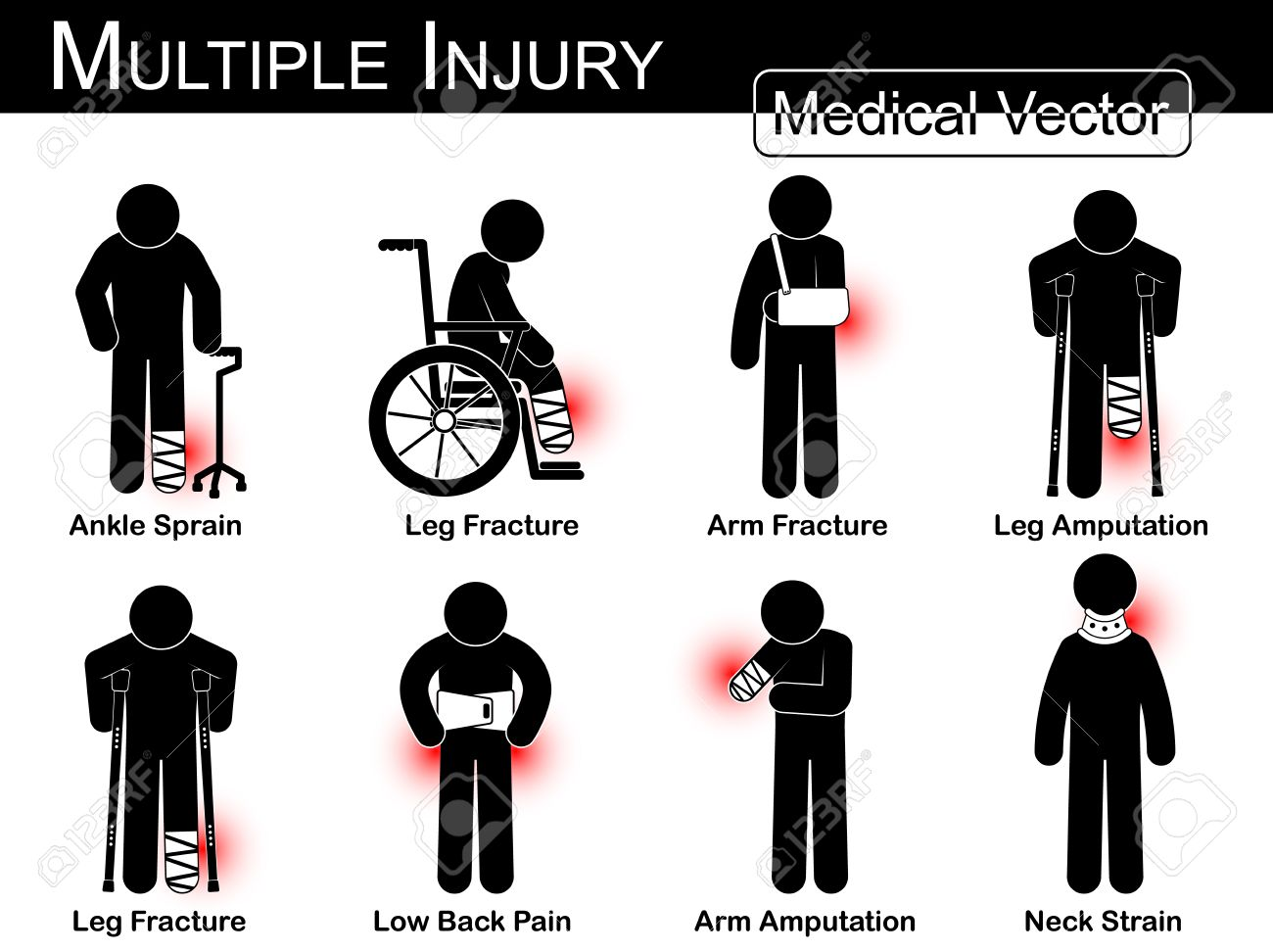 https://i0.wp.com/previews.123rf.com/images/stockdevil/stockdevil1506/stockdevil150600028/41868084-Multiple-injury-set-Ankle-sprain-Leg-fracture-Arm-fracture-Leg-amputation-Leg-fracture-Low-back-pain-Stock-Vector.jpg