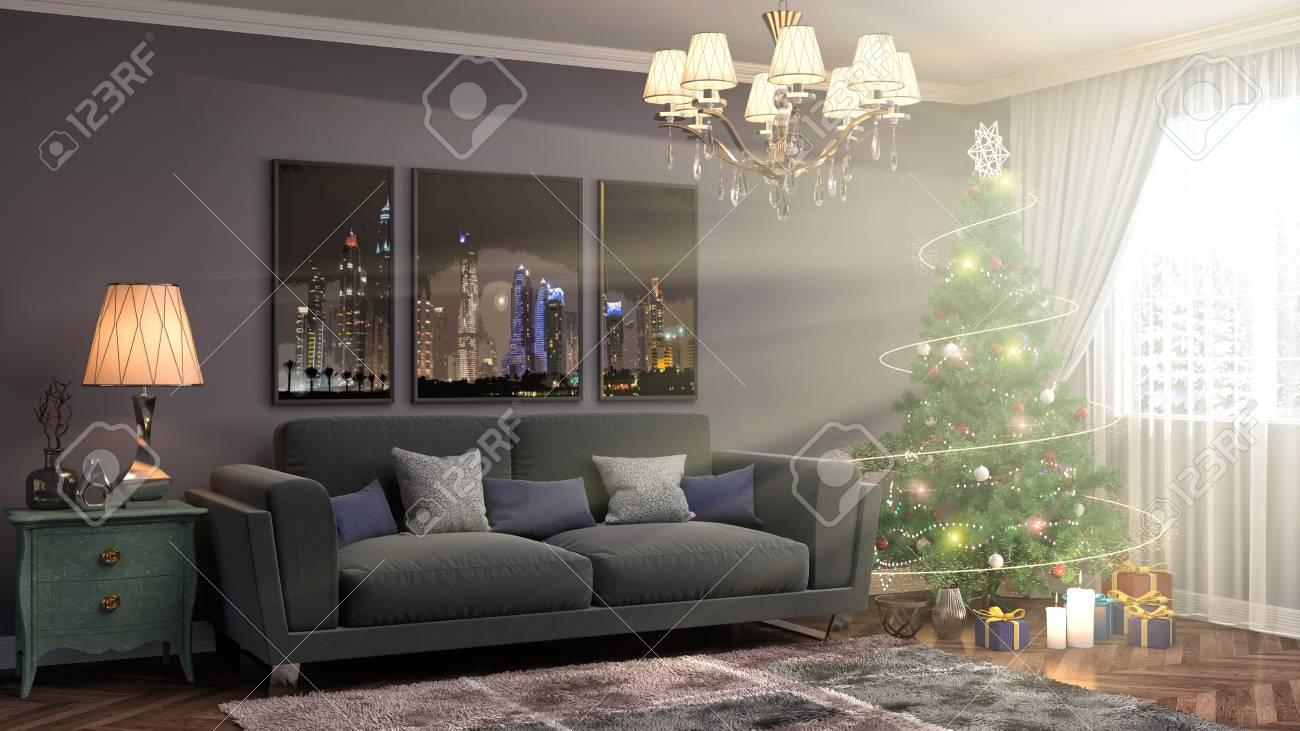 living room tree coffee table ideas christmas with decorations in the 3d illustration stock 71760952