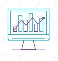 line computer technology with statistics bar diagram vector illustration stock vector 88399752 [ 1300 x 1300 Pixel ]