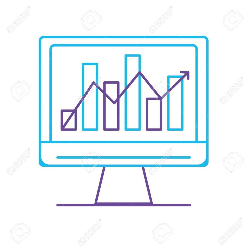 medium resolution of line computer technology with statistics bar diagram vector illustration stock vector 88399752