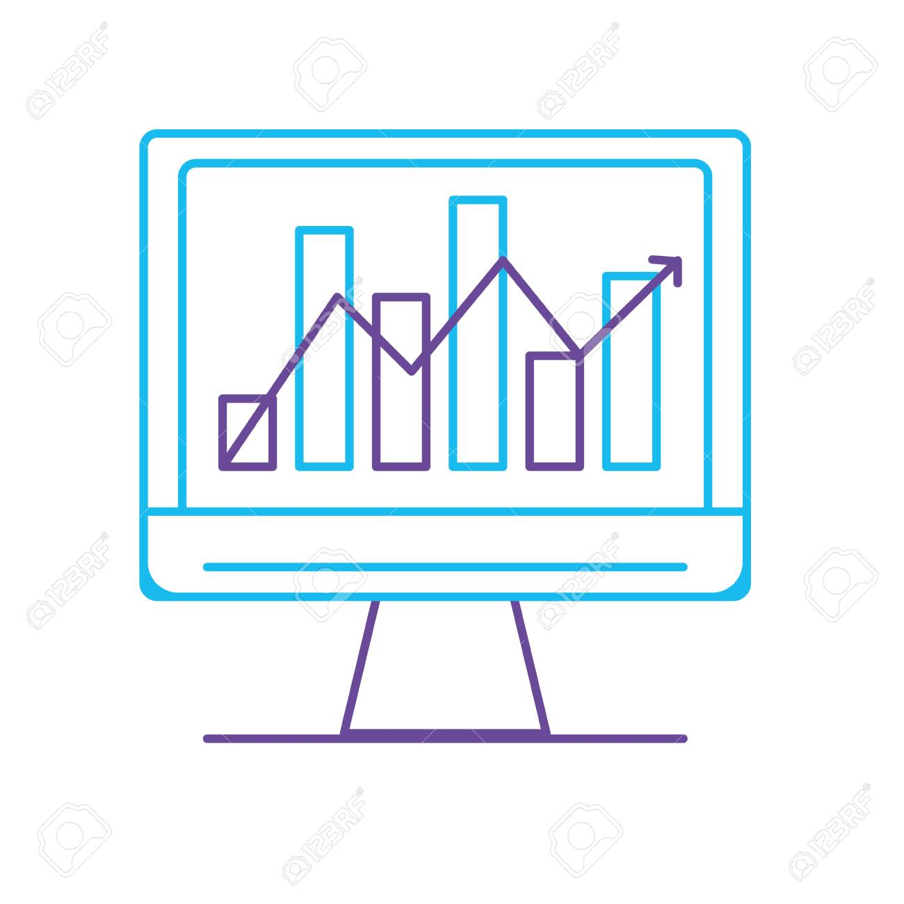 hight resolution of line computer technology with statistics bar diagram vector illustration stock vector 88399752
