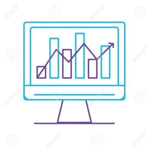 small resolution of line computer technology with statistics bar diagram vector illustration stock vector 88399752