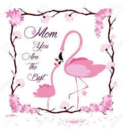 happy mothers day flamingo cartoon icon vector illustration graphic design stock vector 95405919 [ 1300 x 1300 Pixel ]