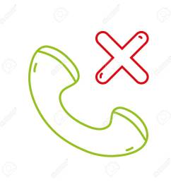 color line phone lost call sign telephone icon vector illustration stock vector 96072478 [ 1300 x 1300 Pixel ]