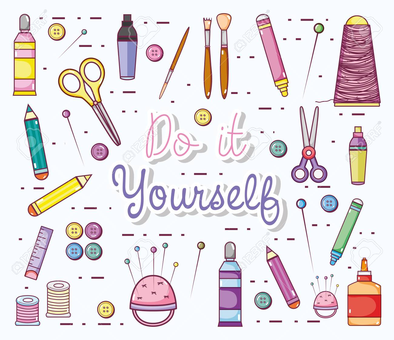 Do It Yourself Cartoons With Craft Supplies Vector Illustration Royalty Free Cliparts Vectors And Stock Illustration Image 100314864