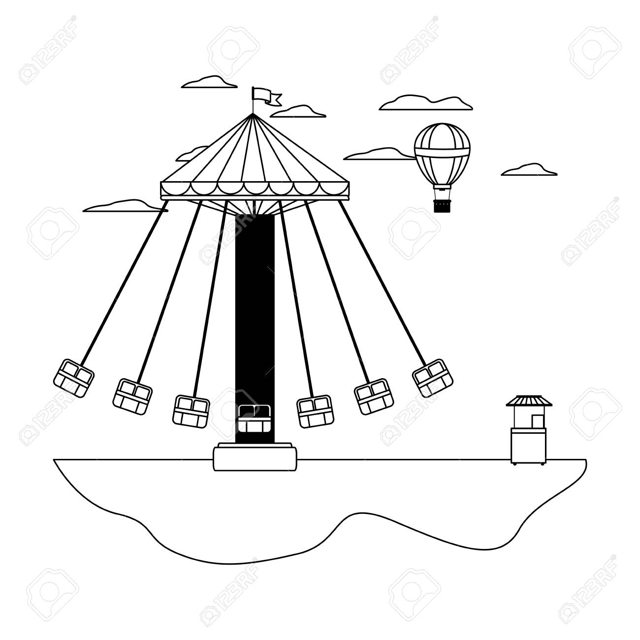 swing chair drawing active office line mechanical and air balloon with shop vector illustration stock 110353760