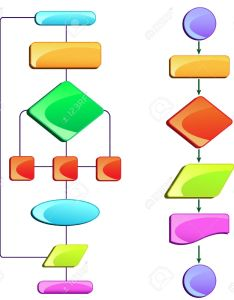Vector illustration of empty flow chart diagram with colorful block also rh rf