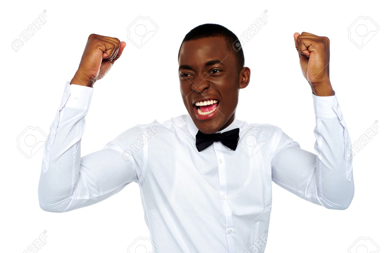 black excited african man