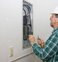 inspector hired by future home owner checking circuit breakers for loose connections defective breakers [ 866 x 1300 Pixel ]