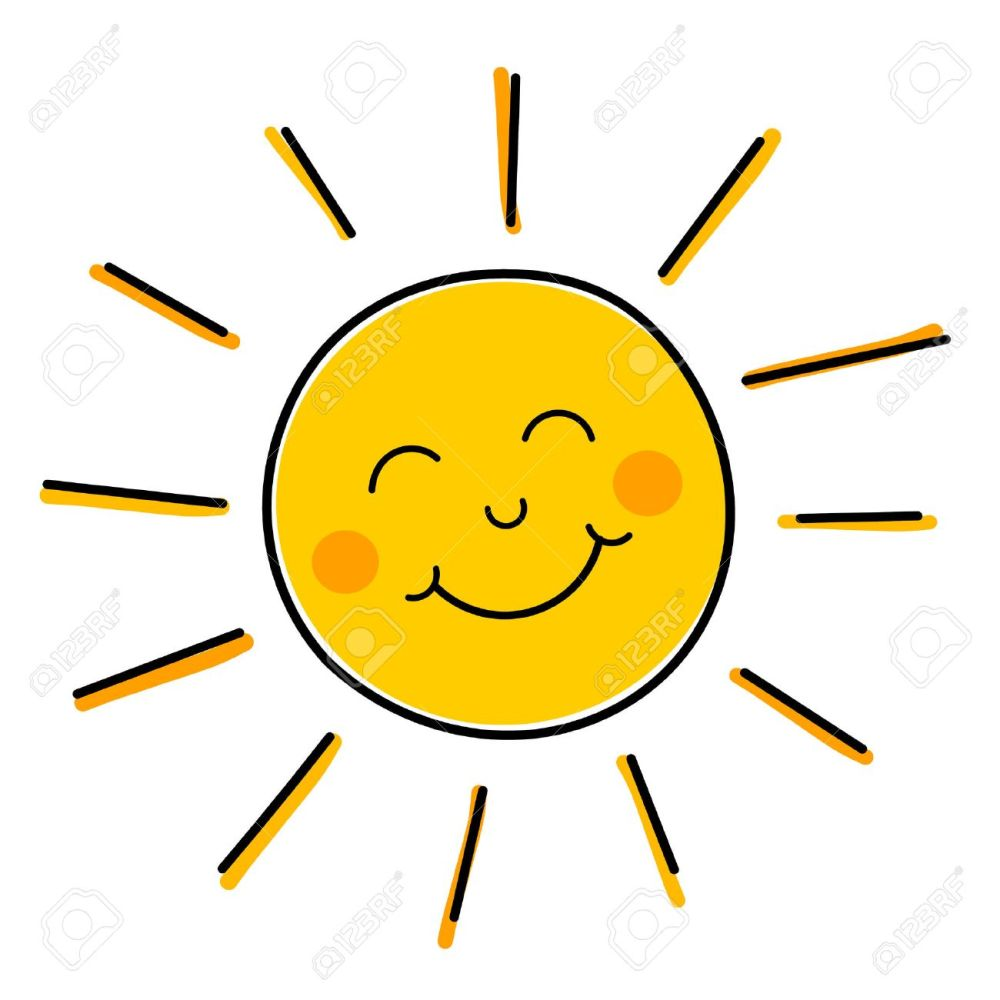 medium resolution of drawing of happy smiling sun illustration