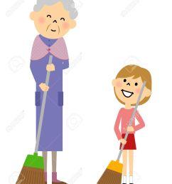 granddaughter and grandmother sweeping stock vector 56265683 [ 1097 x 1300 Pixel ]