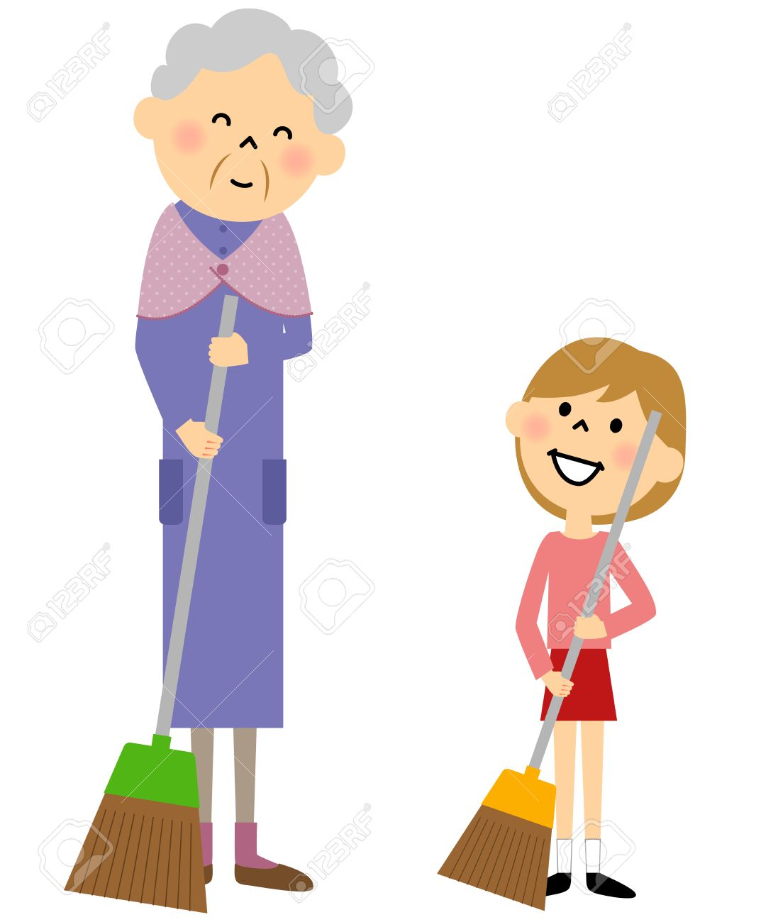 hight resolution of granddaughter and grandmother sweeping stock vector 56265683