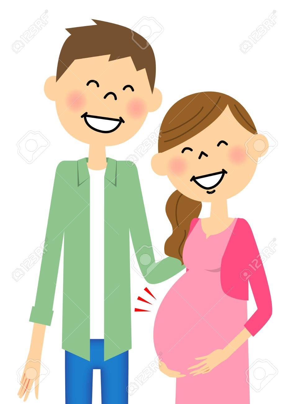 hight resolution of pregnant wife and husband stock vector 64425482