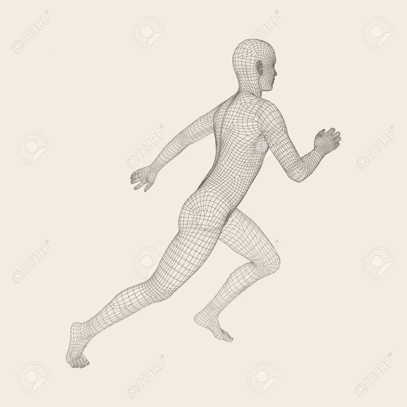 hight resolution of 3d running man human body wire model sport symbol low poly man